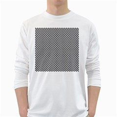 Sports Racing Chess Squares Black White White Long Sleeve T Shirts by EDDArt