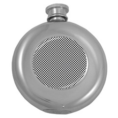 Sports Racing Chess Squares Black White Round Hip Flask (5 Oz) by EDDArt