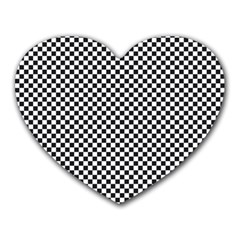 Sports Racing Chess Squares Black White Heart Mousepads by EDDArt