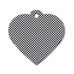 Sports Racing Chess Squares Black White Dog Tag Heart (two Sides) by EDDArt