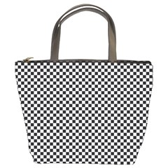 Sports Racing Chess Squares Black White Bucket Bags