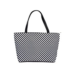 Sports Racing Chess Squares Black White Shoulder Handbags by EDDArt