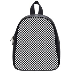Sports Racing Chess Squares Black White School Bags (small)