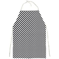 Sports Racing Chess Squares Black White Full Print Aprons by EDDArt