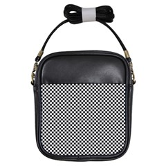 Sports Racing Chess Squares Black White Girls Sling Bags by EDDArt