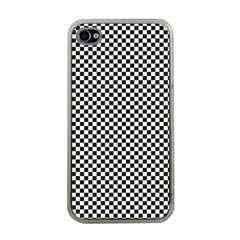 Sports Racing Chess Squares Black White Apple Iphone 4 Case (clear) by EDDArt