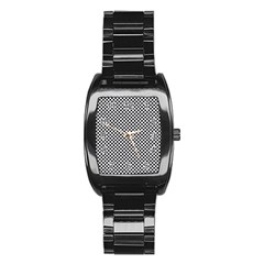 Sports Racing Chess Squares Black White Stainless Steel Barrel Watch by EDDArt