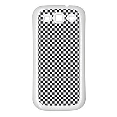 Sports Racing Chess Squares Black White Samsung Galaxy S3 Back Case (white) by EDDArt