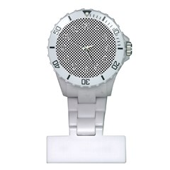 Sports Racing Chess Squares Black White Plastic Nurses Watch by EDDArt