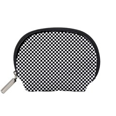 Sports Racing Chess Squares Black White Accessory Pouches (small)  by EDDArt