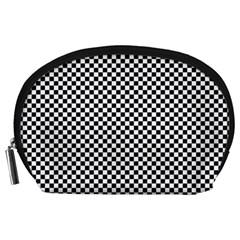 Sports Racing Chess Squares Black White Accessory Pouches (large)  by EDDArt