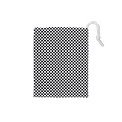 Sports Racing Chess Squares Black White Drawstring Pouches (small)  by EDDArt