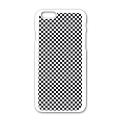 Sports Racing Chess Squares Black White Apple Iphone 6/6s White Enamel Case by EDDArt