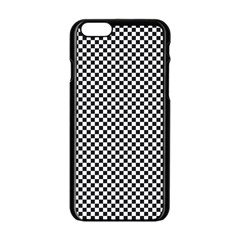 Sports Racing Chess Squares Black White Apple Iphone 6/6s Black Enamel Case by EDDArt