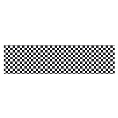 Sports Racing Chess Squares Black White Satin Scarf (oblong) by EDDArt