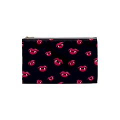Pattern Of Vampire Mouths And Fangs Cosmetic Bag (small)  by CreaturesStore
