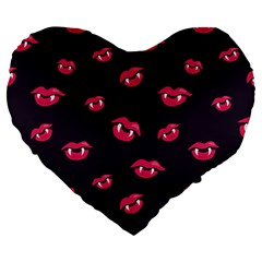 Pattern Of Vampire Mouths And Fangs Large 19  Premium Heart Shape Cushions by CreaturesStore