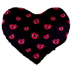 Pattern Of Vampire Mouths And Fangs Large 19  Premium Flano Heart Shape Cushions by CreaturesStore