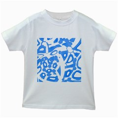 Blue Summer Design Kids White T Shirts by Valentinaart