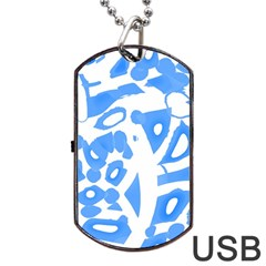 Blue Summer Design Dog Tag Usb Flash (one Side) by Valentinaart