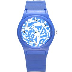 Blue Summer Design Round Plastic Sport Watch (s) by Valentinaart