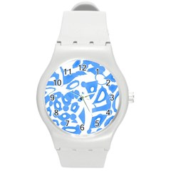 Blue Summer Design Round Plastic Sport Watch (m) by Valentinaart