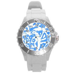 Blue Summer Design Round Plastic Sport Watch (l) by Valentinaart
