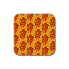 Bugs Eat Autumn Leaf Pattern Rubber Square Coaster (4 Pack)  by CreaturesStore