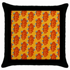 Bugs Eat Autumn Leaf Pattern Throw Pillow Case (black) by CreaturesStore