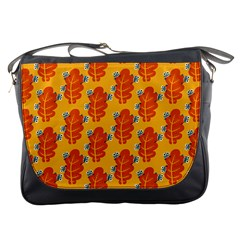 Bugs Eat Autumn Leaf Pattern Messenger Bags by CreaturesStore