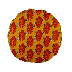 Bugs Eat Autumn Leaf Pattern Standard 15  Premium Round Cushions by CreaturesStore