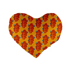Bugs Eat Autumn Leaf Pattern Standard 16  Premium Flano Heart Shape Cushions by CreaturesStore