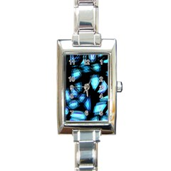 Blue light Rectangle Italian Charm Watch