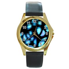 Blue light Round Gold Metal Watch