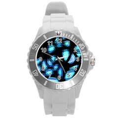 Blue light Round Plastic Sport Watch (L)