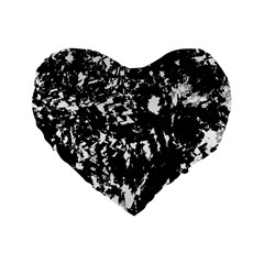 Black And White Miracle Standard 16  Premium Flano Heart Shape Cushions by Valentinaart