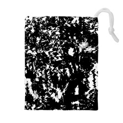 Black And White Miracle Drawstring Pouches (extra Large) by Valentinaart