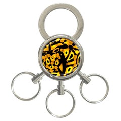 Yellow Design 3 Ring Key Chains by Valentinaart