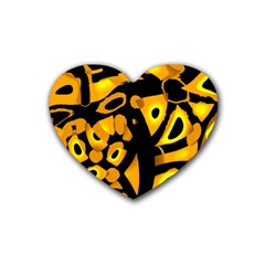 Yellow Design Rubber Coaster (heart)  by Valentinaart