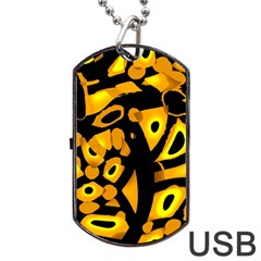 Yellow Design Dog Tag Usb Flash (one Side) by Valentinaart