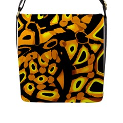 Yellow Design Flap Messenger Bag (l)  by Valentinaart