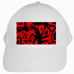 Red Design White Cap by Valentinaart
