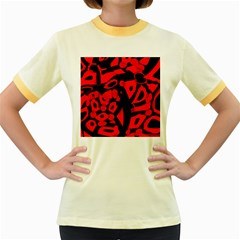 Red Design Women s Fitted Ringer T Shirts by Valentinaart
