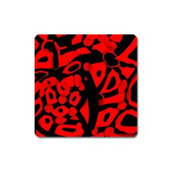 Red Design Square Magnet by Valentinaart