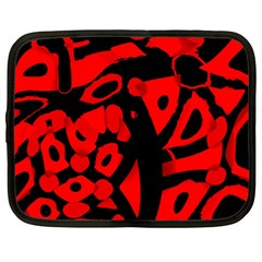Red Design Netbook Case (large) by Valentinaart