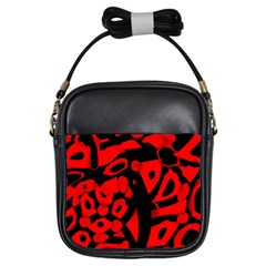 Red Design Girls Sling Bags by Valentinaart