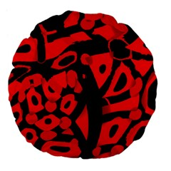 Red Design Large 18  Premium Flano Round Cushions by Valentinaart