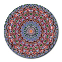 Abstract Painting Mandala Salmon Blue Green Round Mousepads by EDDArt