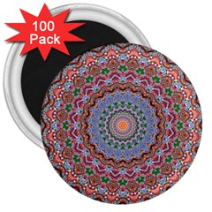 Abstract Painting Mandala Salmon Blue Green 3  Magnets (100 Pack) by EDDArt