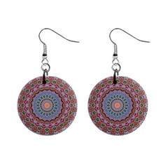 Abstract Painting Mandala Salmon Blue Green Mini Button Earrings by EDDArt